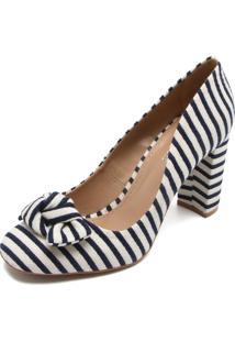 Scarpin Dafiti Shoes Listrado Azul/Branco