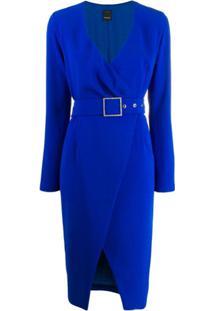Pinko Vestido Envelope Com Cinto - Azul