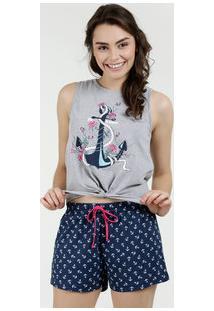 Pijama Feminino Estampa Âncora Sem Manga Marisa