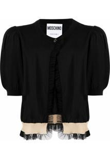 Moschino Cardigan Couture Com Acabamento De Babados - Preto