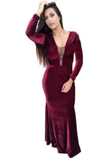 Vestido Longo De Veludo Nr Modas Sereia Decote Com Tule Marsala