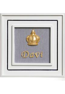 Quadro Príncipe Corôa Dourada Com Nome Bebê Infantil Potinho De Mel Marinho