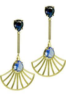 Brinco Banho De Ouro Cristal Oval E Arabesco Formato Leque - Feminino-Dourado