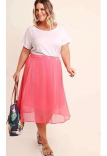 Saia Almaria Plus Size Munny Midi Chiffon Rosa