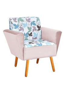 Poltrona Decorativa Dora Estampado Folhas D68 Com Veludo Rose - D'Rossi