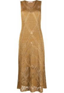 Twinset Vestido Midi Com Efeito Metálico - Dourado
