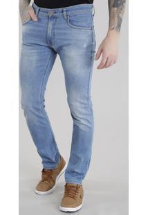 Calça Jeans Slim Com Algodão + Sustentável Azul Claro