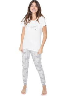 Pijama Cor Com Amor Dreamer Off-White/Cinza