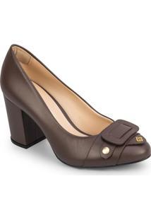 Sapato Tradicional Em Couro Com Recorte Frontal - Marromcapodarte