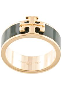 Tory Burch Kira Raised-Logo Ring - Verde