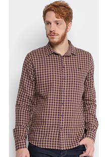 Camisa Xadrez Triton Dupla Face Manga Longa Masculina - Masculino-Roxo+Bege