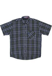 Camisa Masculina Xadrez Manga Curta Rodeo Western - Masculino-Verde