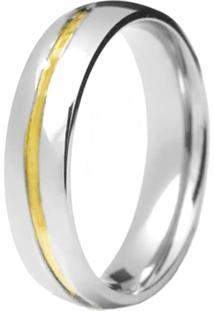 Aliança Prata Mil Filete De Ouro Prata