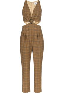 Nanushka Amor Cut-Out Check Jumpsuit - Marrom