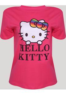 Blusa Feminina Hello Kitty Manga Curta Decote Redondo Pink