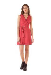 Vestido Curto Decote V Costura Marcada Vermelho G