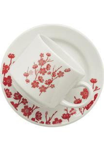Xícara Chá Com Pires Donna Jardim Oriental Vermelho E Branco 200Ml