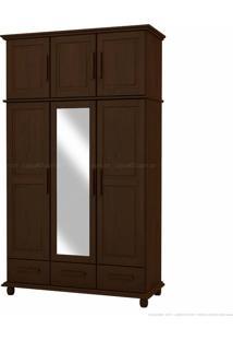 Guarda-Roupa Duplex Com Espelho Veneza 100% Madeira Maciça 6 Portas E 3 Gavetas Tabaco - Kitimar Móveis