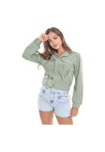 Jaqueta Suede Lemier Collection Bomber Color Verde Com Bolsos Feminina