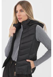 Colete Puffer Facinelli By Mooncity Liso Preto - Kanui