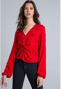 Blusa Recorte Transpassado Vermelho