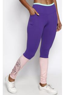 Legging Com Recortes- Roxa & Rosa Clarophysical Fitness