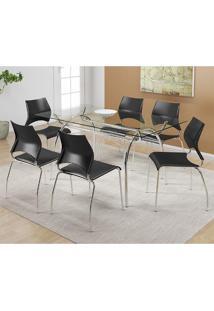 Mesa 379 Com Vidro Incolor Cromada Com 6 Cadeiras 357 Preta Carraro
