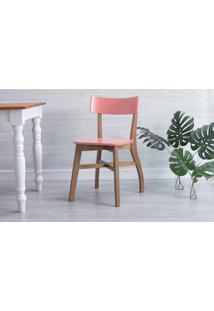 Cadeira Para Sala De Jantar Bella Amêndoa E Rosa Coral 44X51X82 Cm