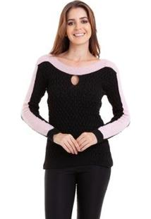 Suéter Kinara Tricot Gota Feminino - Feminino-Preto