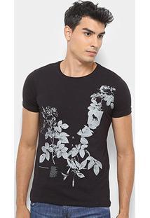 Camiseta Acostamento Floral Masculina - Masculino-Preto