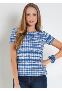 Blusa Básica Com Amarrador Tie Dye Azul