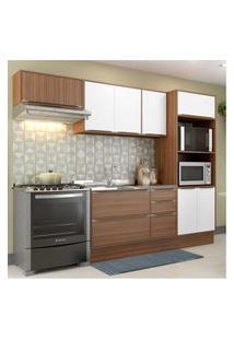 Cozinha Completa Multimóveis Com 6 Peças Calábria 5457R Nogueira/Branco Marrom