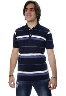 Camiseta Laos Gola Polo Manga Curta Listrada Azul