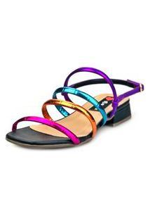 Sandália Saltinho Baixo Love Shoes Tiras Metalizadas Fashion Preto