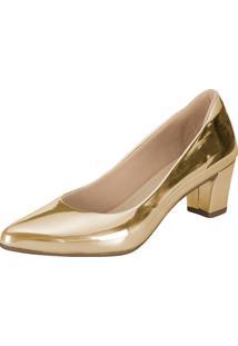 Scarpin Lu Fashion Salto Baixo Dourado Metalizado