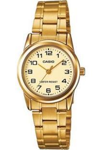 Relógio Feminino Casio Analógico Ltpv001G9Budf - Unissex-Dourado