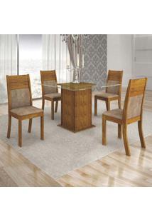 Conjunto De Mesa De Jantar Napoli Vidro Com 4 Cadeiras Havaí Veludo Canela Capuccino
