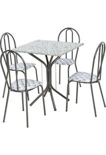 Jogo De Mesa E 04 Cadeiras Thais Com Tampo Granito Craquelada/Assento Capitone - Artefamol