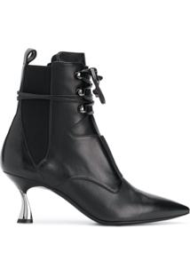 Casadei Ankle Boot Com Cadarço De Couro - Preto