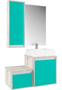 Gabinete Para Banheiro Com Espelheira Calcare E Verde Mar - Multicolorido - Dafiti