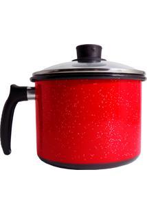 Caneco Vermelho Liso De Agatha Com Tampa Vidro 16 Cm
