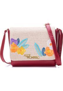 Bolsa Alice Monteiro Com Tampa Bordado Floral - Vermelho