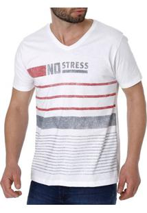 Camiseta Manga Curta Masculina No Stress Branco