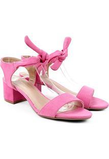 Sandália Via Marte Salto Médio Amarração Feminina - Feminino-Pink