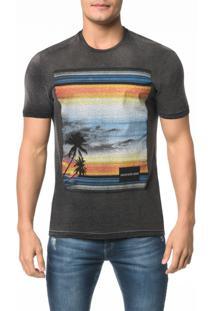 Camiseta Ckj Mc Estampa Paisagem Praia - Ggg