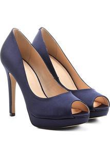 a3781c18c0 ... Peep Toe Shoestock Meia Pata Cetim - Feminino-Marinho