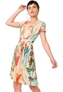 Vestido Desigual Curto Luana Laranja/Verde