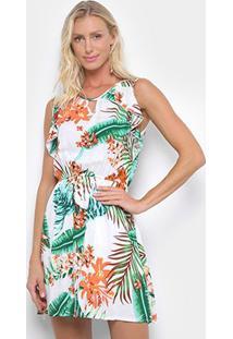 Vestido Pérola Evasê Curto Tropical Babados Laterais - Feminino-Preto+Verde