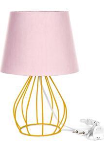 Abajur Cebola Dome Rosa Com Aramado Amarelo