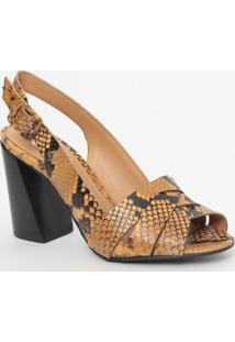 Sandália Em Couro Com Textura Animal- Amarela & Preta